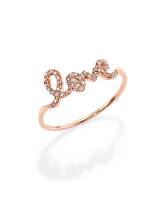 Sydney Evan | Red Diamond & 14k Rose Gold Love Ring | Lyst