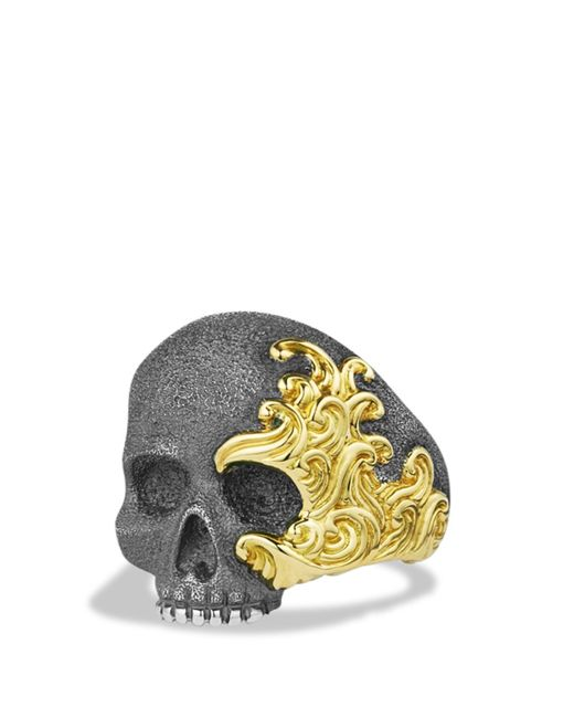 David Yurman | Metallic Waves Large Skull Ring With 18k Gold for Men | Lyst