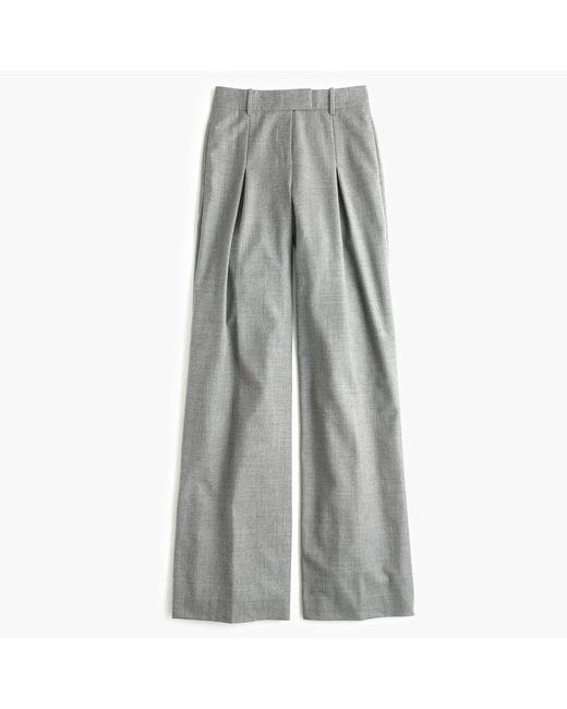 J.Crew | Gray Petite Wide-leg Pant In Wool | Lyst