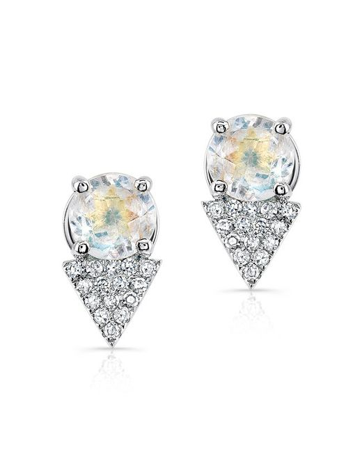 Anne Sisteron - Metallic 14kt White Gold Moonstone Diamond Maddie Stud Earrings - Lyst