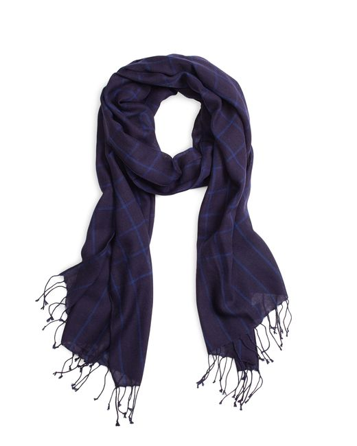 Brooks Brothers | Blue Windowpane Scarf for Men | Lyst