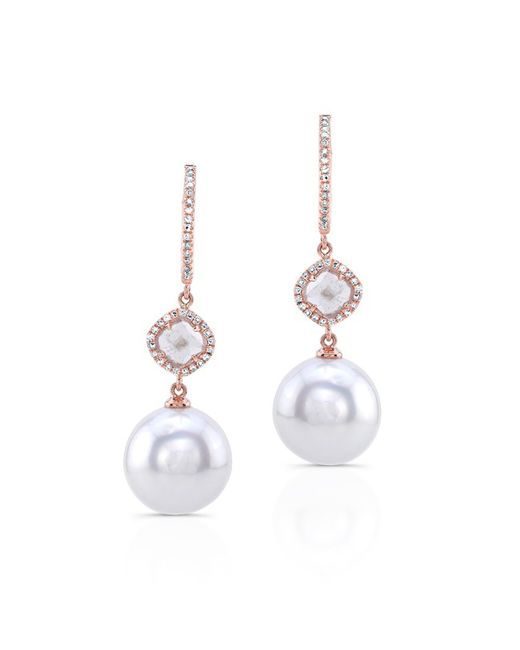 Anne Sisteron | Metallic 14kt Rose Gold Diamond Slice Pearl Drop Earrings | Lyst