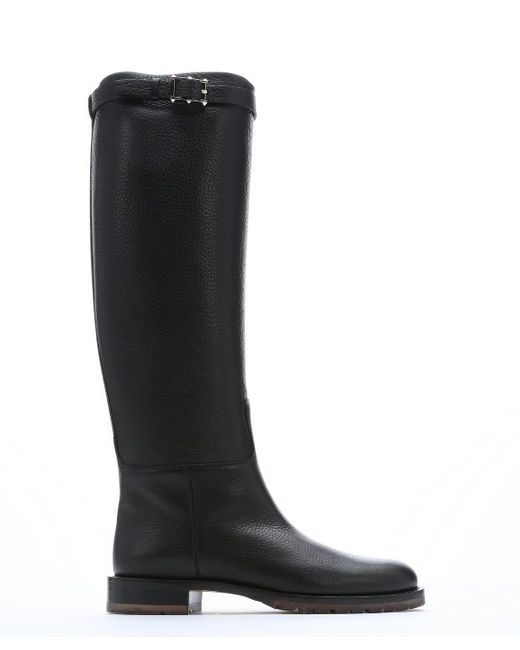 valentino black leather chevalier pull on knee high