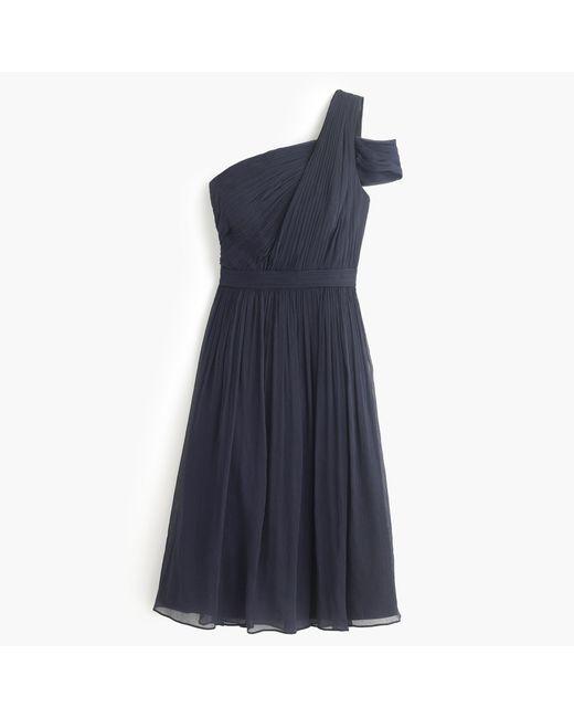 J.Crew | Blue Cara Dress In Silk Chiffon | Lyst