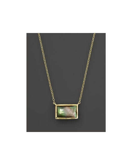 """Ippolita   18k Gold Gelato Small Baguette Station Necklace In Black Shell, 16""""   Lyst"""