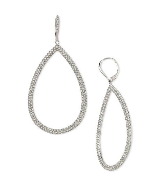 Nadri | White Pavé Gold Plated Teardrop Earrings | Lyst