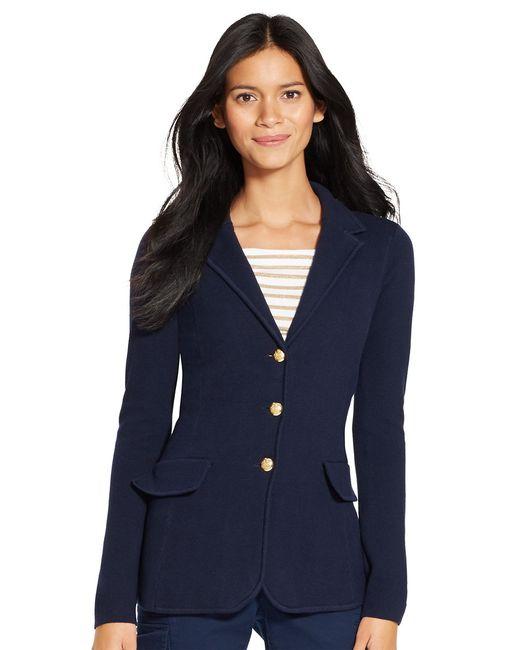 Lauren by Ralph Lauren | Blue Cotton Sweater Blazer | Lyst