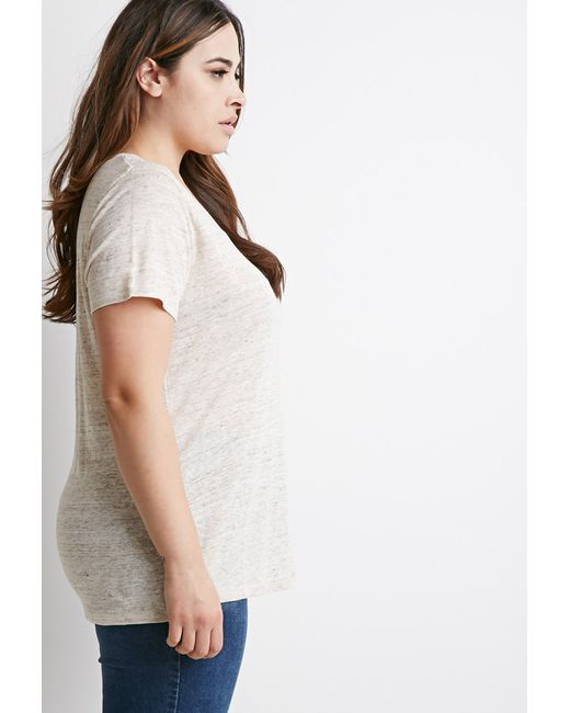 Forever 21 | Natural Plus Size Classic V-neck Tee | Lyst