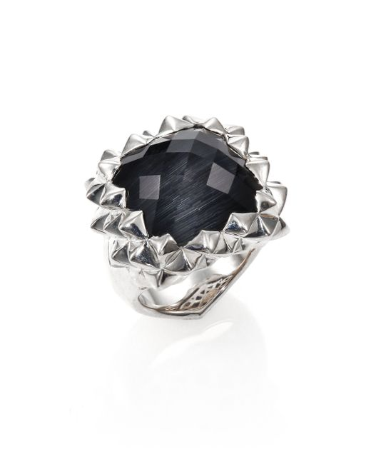 Stephen Webster   Metallic Superstud Grey Cat's Eye, Clear Quartz & Sterling Silver Haze Small Square Ring   Lyst