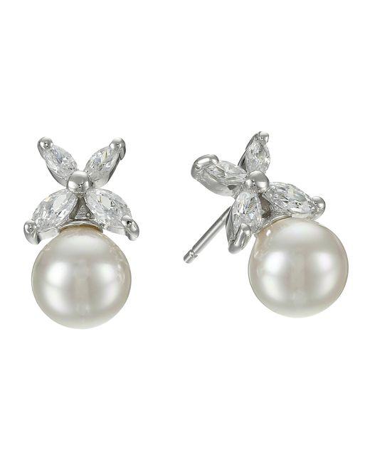 Majorica | Metallic 8mm Pearl W/ Cz Flower Earrings | Lyst