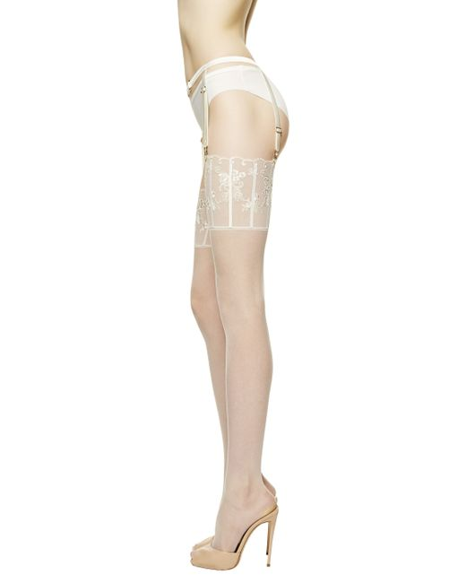 La Perla | Natural Suspender Stockings Floralia | Lyst