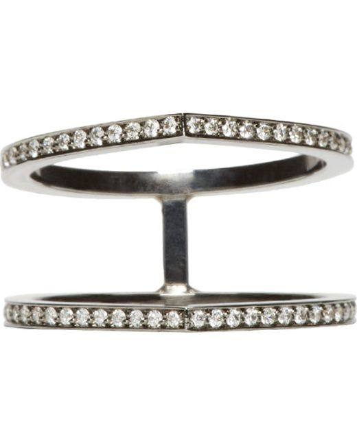 Repossi | Metallic Black Gold Pavé Diamond Double Antifer Ring | Lyst