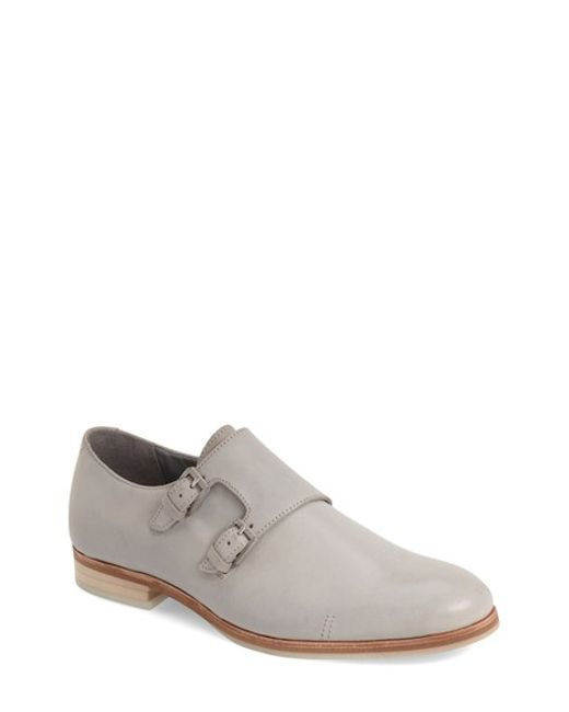 calvin klein 39 faber 39 double monk strap shoe in gray for. Black Bedroom Furniture Sets. Home Design Ideas