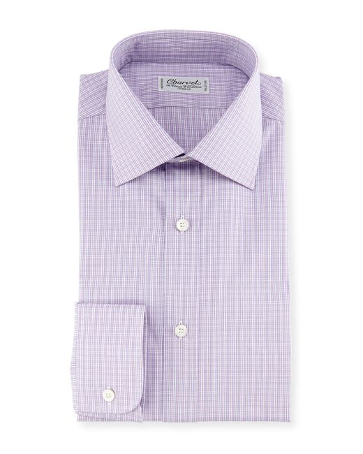 Charvet Madras Plaid Dress Shirt In Purple For Men Pink