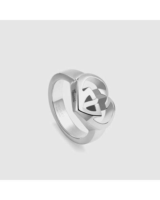 Gucci | Metallic Heart-shaped Interlocking G Ring | Lyst