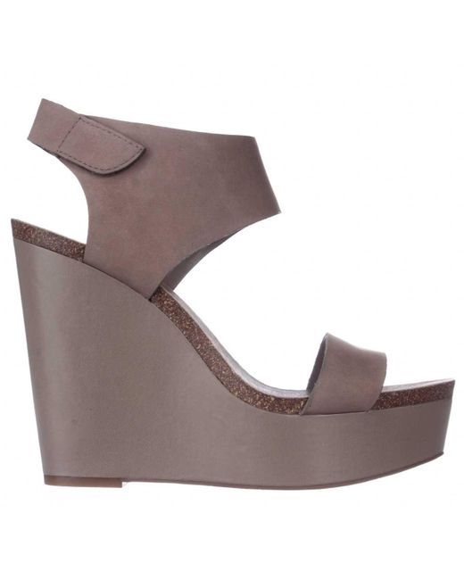 vince camuto kaja ankle cuff wedge sandals in gray lyst