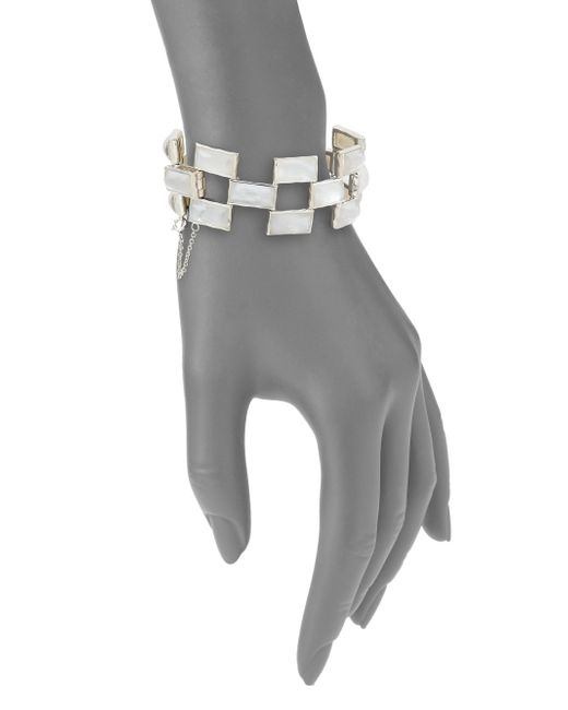Ippolita | Metallic Rock Candy Mother-of-pearl, Clear Quartz & Sterling Silver Doublet Mosaic Bracelet | Lyst