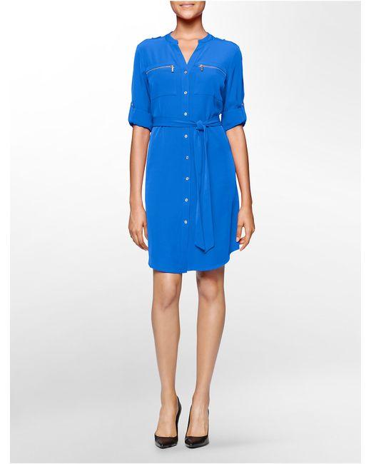 Calvin Klein | Blue Mandarin Collar Zip Detail Belted Roll-up Sleeve Dress | Lyst