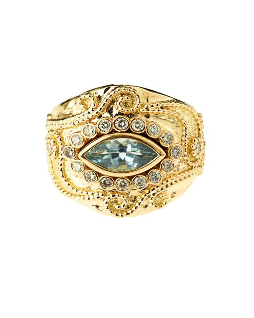 Aurelie Bidermann | Cashmere Aqua Marina And Diamonds Yellow-gold Ring | Lyst
