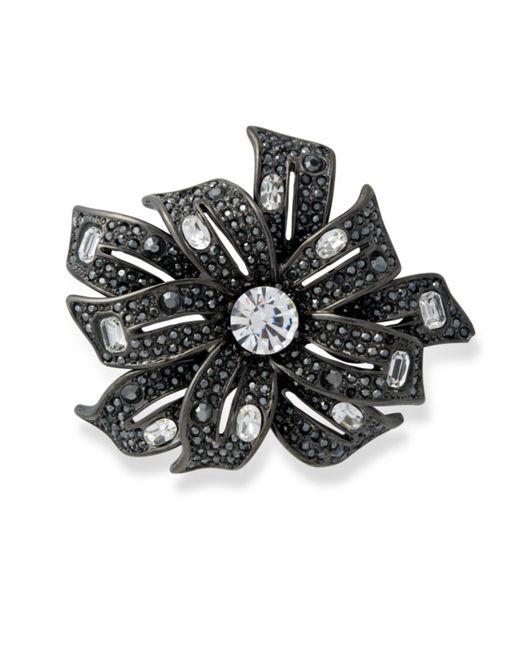 Kenneth Jay Lane | Metallic Hematite Flower Brooch | Lyst