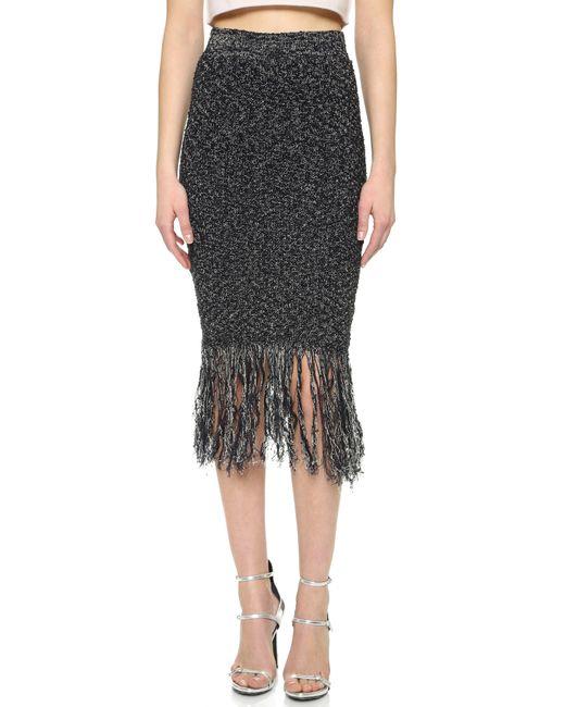 jonathan simkhai shredded linen pencil skirt in black
