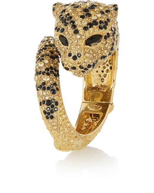 Roberto Cavalli | Metallic Gold-Plated Swarovski Crystal Panther Bracelet | Lyst
