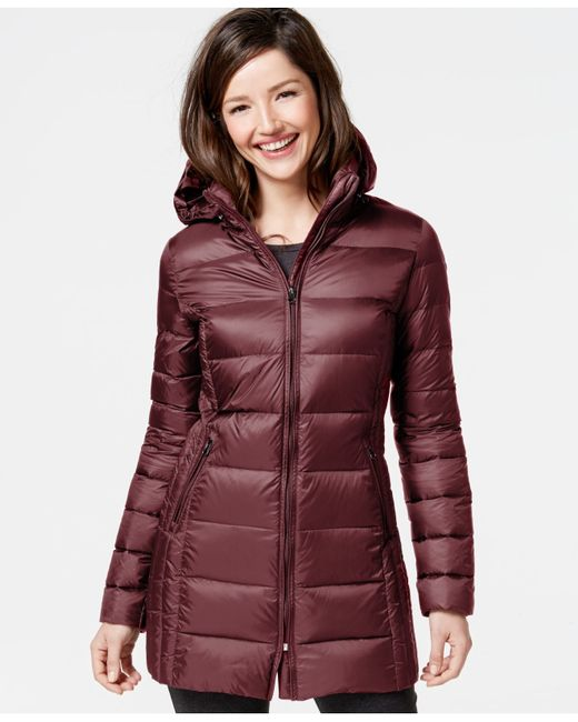 32 Degrees Quilted Down Packable Puffer Coat In Red