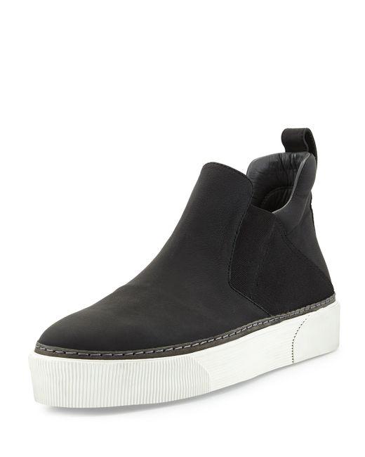 Lanvin Leather High Top Slip On Sneaker In Black For Men
