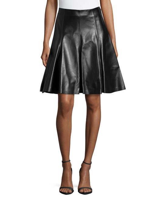 versace flare leather skirt in black lyst
