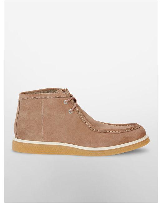 calvin klein fabien suede boot in brown for