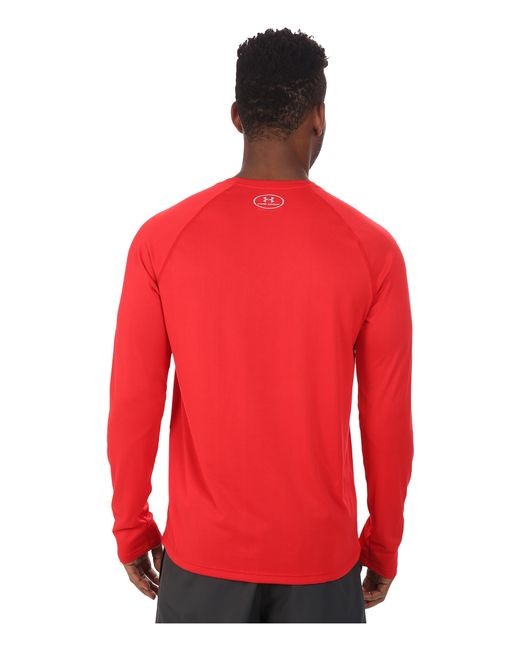 Under Armour | Red Ua Tech™ Long Sleeve Tee for Men | Lyst