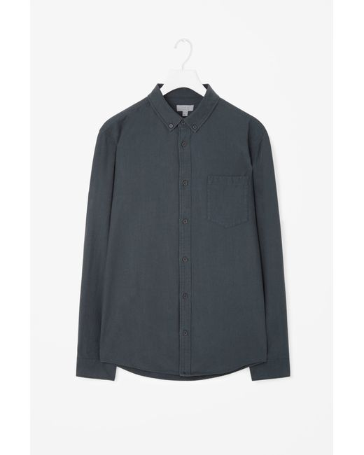 Cos Button Collar Shirt In Multicolor For Men Forest
