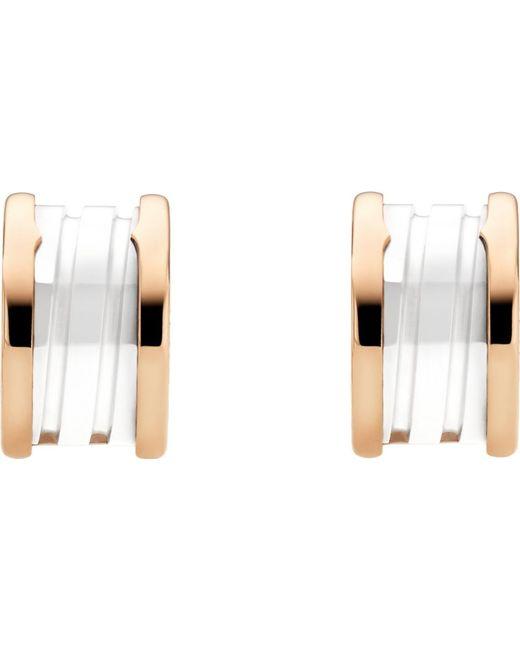 BVLGARI | Metallic B.zero1 18kt Pink-gold And Ceramic Earrings | Lyst