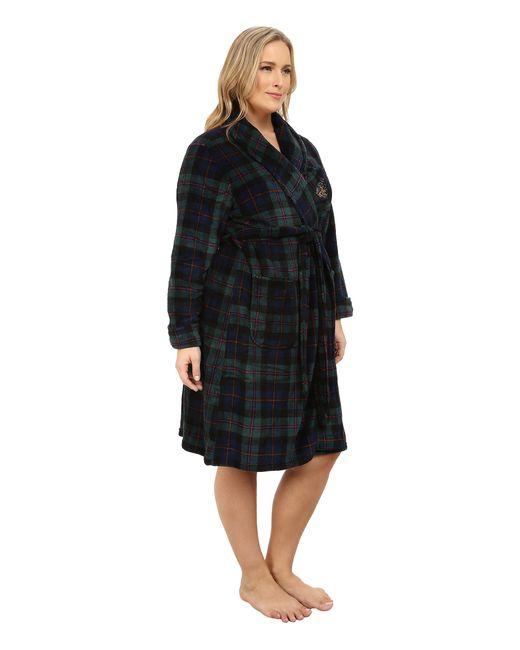 Lauren by Ralph Lauren | Green Plus Size Folded So Soft Terry Short Robe | Lyst