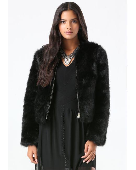 Bebe | Black Faux Fur Evening Jacket | Lyst