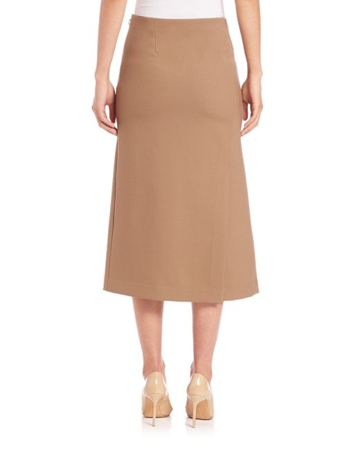 theory beige anneal a line midi skirt lyst