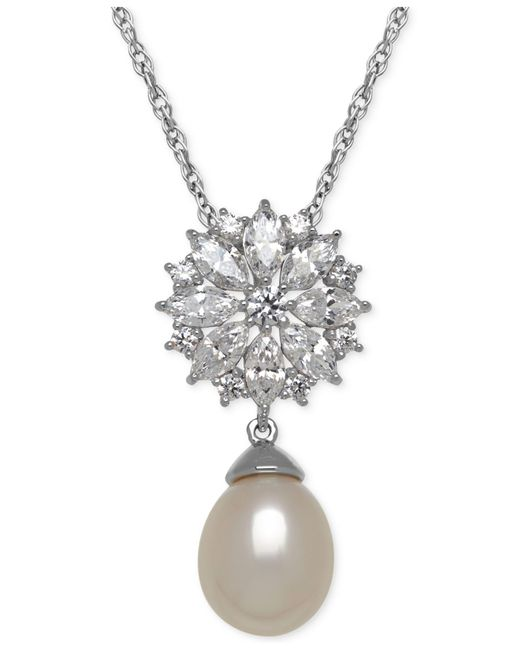 Arabella | Metallic Cultured Freshwater Pearl (12mm) And Cubic Zirconia Pendant Necklace In Sterling Silver | Lyst