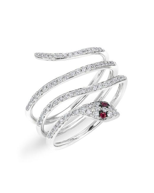 Anne Sisteron | Metallic 14kt White Gold Ruby Eye Diamond Wrap Snake Ring | Lyst