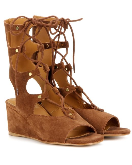 Chloé | Brown Foster Suede Wedge Gladiator Sandals | Lyst