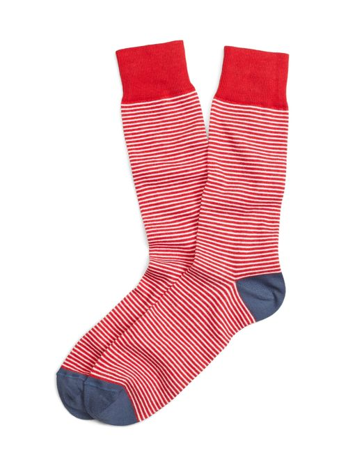 Brooks Brothers | Red Color-block Stripe Crew Socks for Men | Lyst