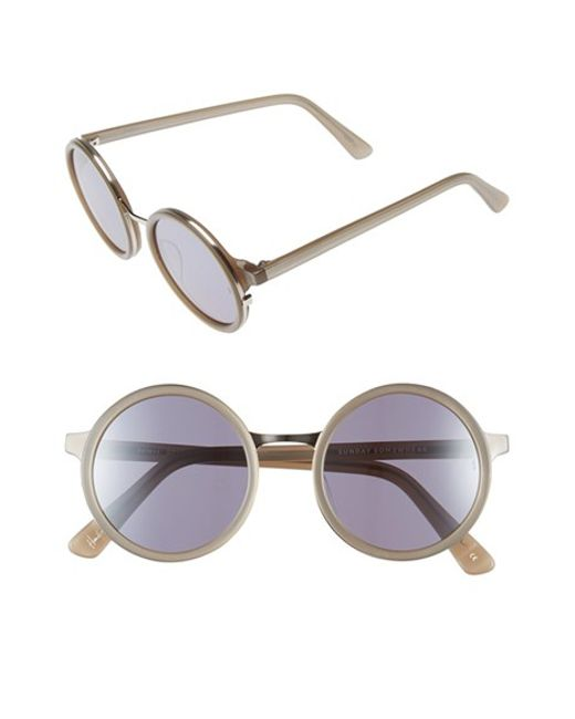 Sunday Somewhere | Metallic 'soleil' 50mm Round Sunglasses | Lyst