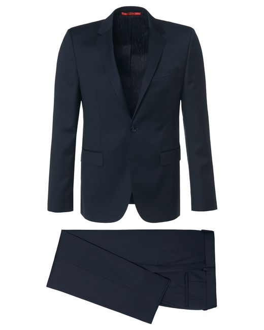 HUGO | Blue Subtly Striped Regular-fit Suit In New Wool With Waistcoat: 'c-jim/c-simmons/c-we' for Men | Lyst