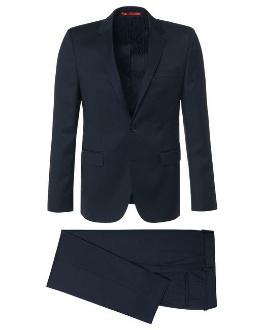 HUGO | Blue Slim-fit Suit In The Finest New Wool In Superblack Or Supernavy Fabric: 'aeron2/hamen2' for Men | Lyst