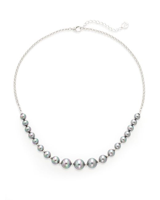 Majorica | Gray Ophol 6mm-10mm Grey Round Pearl & Sterling Silver Necklace | Lyst
