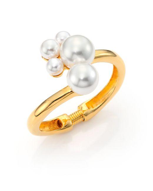 Kenneth Jay Lane | Metallic Faux Pearl Cluster Hinge Bracelet | Lyst