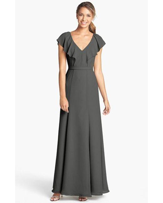 Jenny Yoo   Gray 'cecilia' Ruffled V-neck Chiffon Long Dress   Lyst