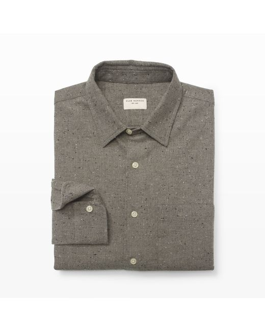 Club Monaco | Gray Slim-fit Heather Nep Shirt for Men | Lyst