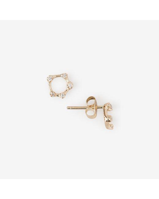 N/a | Metallic Diamond Circle Studs | Lyst