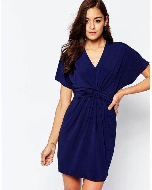 ASOS | Blue Wrap Dress In Crepe | Lyst