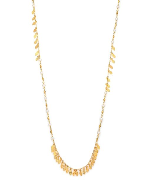 Chan Luu | Metallic 5mm White Potato Pearl Beaded Leaf Fringe Necklace | Lyst